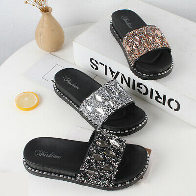 Ladies Womens Summer Flat Sandals Beach Slider Slipper Casual Shoes Mules Size