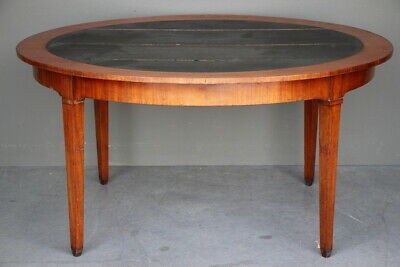 French antique library table oval inlaid writing desk seats 6 original 1810 RARE