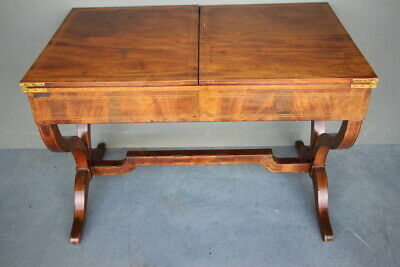 Rare Regency library table Games table fold over extensions inlaid circa 1810