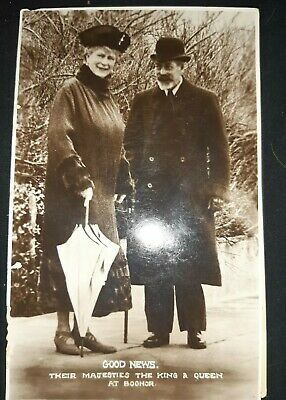 Real photo postcard of king George V and queen Mary at Bognor nov 1930