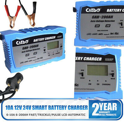 10A Car Battery Charger Heavy Duty 12V/24V Trickle Leisure Vehicle HGV Lorry GEL