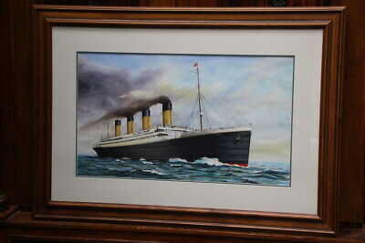 Large original watercolour painting TITANIC by noted maritime artist John FORD