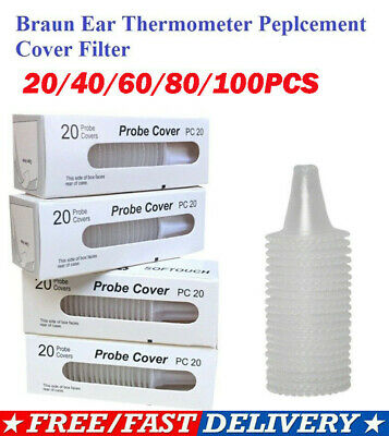 100pcs Ear Probe Covers Lens Filters for Braun Thermoscan Ear Thermometer