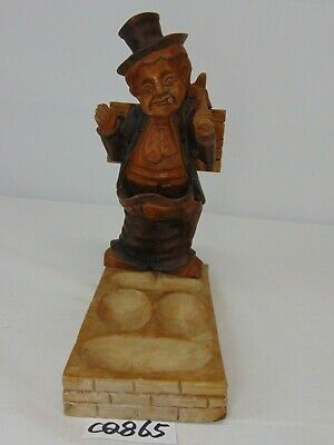 Antique Wood Carved Pipe Holder Old Man With Suit-Stand-Figure-Americana
