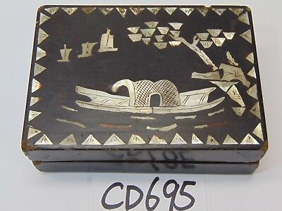 Vintage Chinese Lacquer Wood Mother Of Pear Inlaid Cosmetic Box-Asian Boat Rare