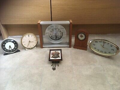Job Lot 6 Vintage Windup Clocks Spares Repair Hummel Westclox Columbia Lord King