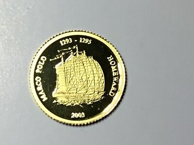 Mongolia. 2003 Gold 50 Tugrik.. Marco Polo..  1.224gms  .9999 gold.. Proof $120.
