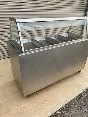 COMMERCIAL FOOD WARMER BAIN MARIE 4xTRAYS COVER GLASS DISPLAY Stainless Steel