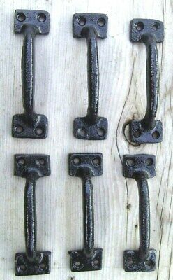 """6 Cast Iron Gate Door Handle Pull 4"""" Black Set of 6 Drawer or Cabinet Pull"""