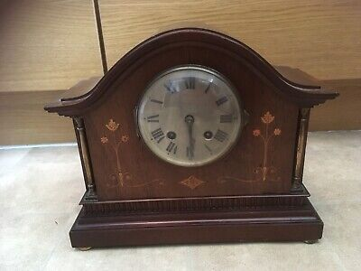 Antique/Vintage Wooden Inlay Windup Mantle Clock Spares Repairs Georgian?