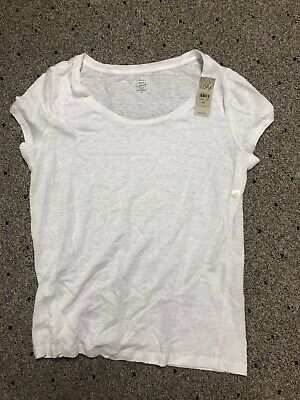 Womens Ann Taylor Loft Medium Petite White Short Sleeve Linen Tee Shirt Top NWT