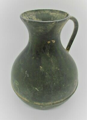Finest Circa 100Bc-100Ad Ancient Celtic Bronze Votive Jug With Handle Rare