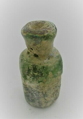 Circa 200 - 300 Ad Ancient Roman Glass Iridescent Medicine Or Poison Bottle