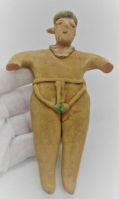 Very Rare Ancient Neolithic Near Eastern Terracotta Worshipper Figurine
