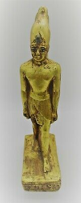 Beautiful Ancient Egyptian Gold Gilded Stone Standing Pharoah Statuette
