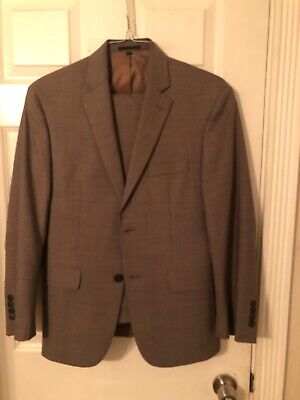 mens jos a bank taupe colored houndstooth pattern tailored fit suit 38s 98% wool