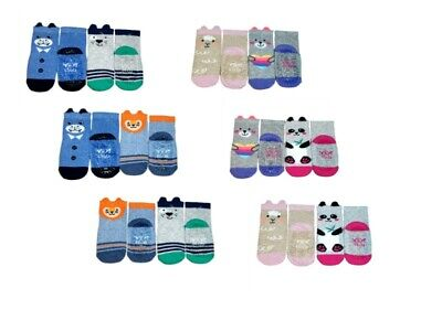 Girls Boys Toddler ABS Anti Non Slip Silicone Sole Cotton Socks 2 Pairs 9m-4Y