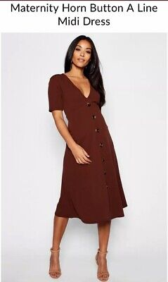 Boohoo Maternity A Line Midi Dress * Brown * Size 12 * Horn Button * Worn Once
