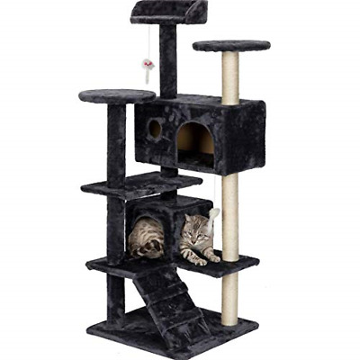 MIERES Multi-Level Cat Tree with Sisal-Covered Scratcher Slope, Black