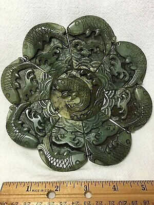 Chinese Carved Green Jade Warring States or Shang 9-Piece Bi Disc with Fish