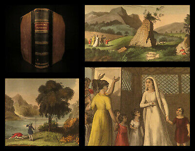 1853 BEAUTIFUL John Bunyan Pilgrim's Progress Color Illustrated Holy War PURITAN