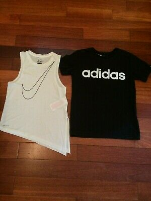 Girls Nike DRI-FIT white top and Adidas black top age 8-10 years