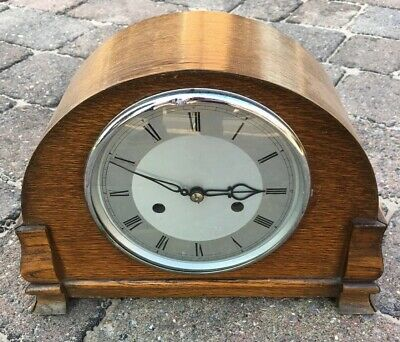 Antique Wooden Cased Smiths Mantle Clock Not Working Inc Pendulum And Key 11inch
