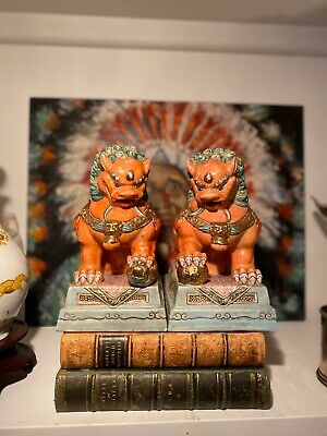 Pair Chinoiserie Chinese Porcelain Foo Dog Lion Figures Mid Century