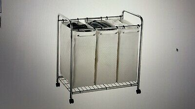 NEW! Organize It All 3 Section Chrome Hamper With Canvas  1763