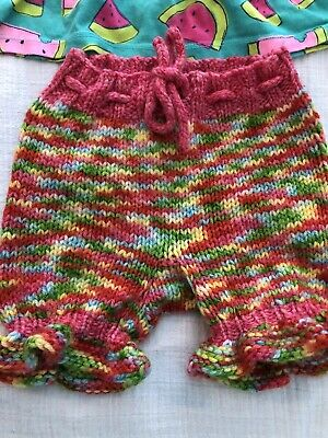 """Rainbow knitted wool shorties with """"ruffled"""" hem on the leg holes"""