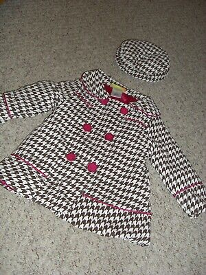 Girls Brown & White Houndstooth/Dogtooth Coat & Beret Hat by Penelope Mack Age 2