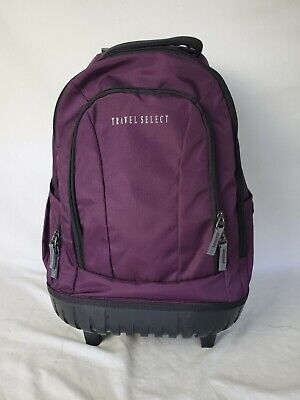"""$100 Travel Select 18"""" Rolling Wheeled Travel Backpack Purple"""