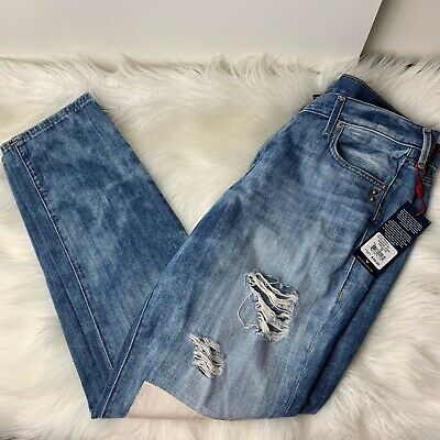 "True Religion Womens Jeans 30"" Blue Boyfriend Cameron Heavily Distressed Studded"