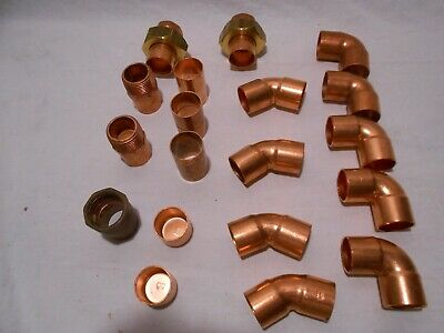 """19 Copper 1"""" (1 1/8"""" od) Fittings Unions,90's,45's,Couplings,Adapters and Caps"""