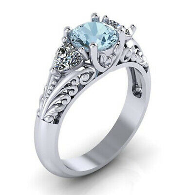 Fashion 925 Silver Aquamarine Women Jewelry Wedding Engagement Gifts Ring Size6