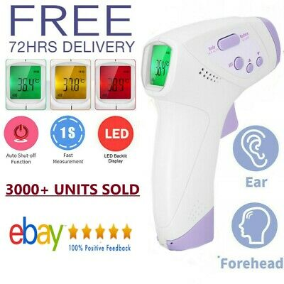 IR Infrared Digital Forehead Fever Thermometer Non-Contact Baby Adult Body NEW