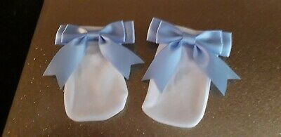 1pr ROMANY BABY GIRL //BOY BLUE BIG SATIN BOW WHITE SCRATCH MITTENS  0-3