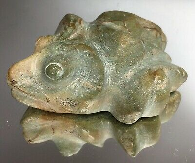 LARGE Pre-Columbian Green Stone Carved Frog Amphibious Effigy Fetish Totem