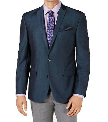 Bar III Mens Suit Seperate Blue Size 38S Short Two Button Slim Stretch $295 032