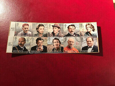 STAMPS - GB 2013 GREAT BRITONS SET 10 On PIECE,slight Perf Overlap