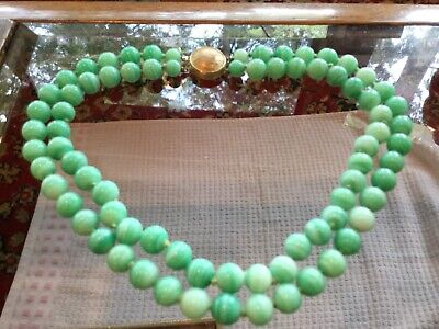 "Vintage Chinese Apple Green Jade Peking Glass Necklace, 16"",circa 1940"
