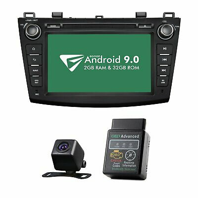 "CAM+OBD+Android 8""Best Car Stereo Apple Car Play Radio GPS DVD For Mazda 3 10-13"