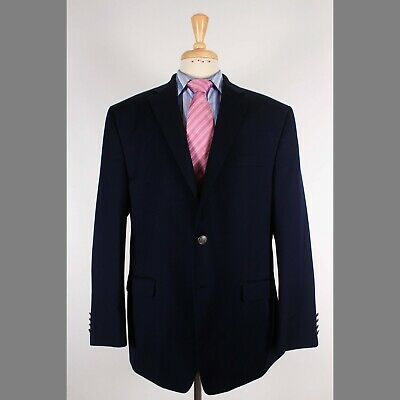 Michael Kors 46R Navy Solid Wool Two Button Mens Sport Coat Blazer Jacket