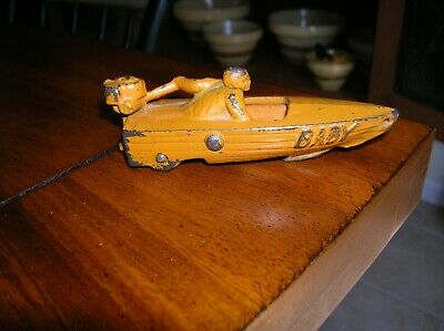 "Rare 1930'S Antique Cast Iron Orange Hubley Speed Boat ""Baby"" Pull Toy 4"" Long"