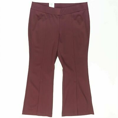 INC Womens Pants Dark Red Size 18W Plus Slit Flare Pull On Stretch $89 114