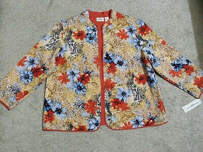 ALFRED DUNNER Women's SIZE 24W BLOUSE/Blazer FLOWERY DESIGN  COLORFUL NWT