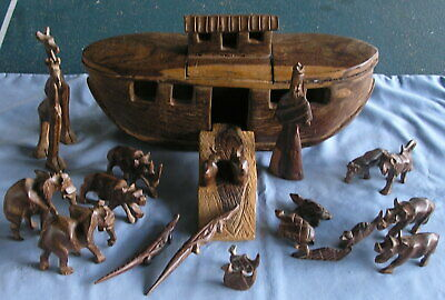 Vintage Wooden Folk Art Hand Carved Noah's Ark Boat Animals Figurines Set
