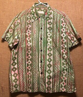 Vintage 1950's Mexican Green Red Cotton Short Sleeve Shirt