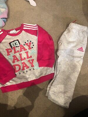 12-18 Months Girls Grey And Pink Adidas Tracksuit Set Outfit