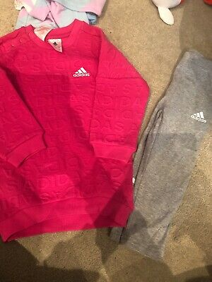 12-18 Months Girls Leggings And Jumper Set Adidas Pink And Grey
